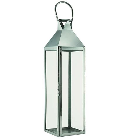 large silver hton candle lantern by garden selections