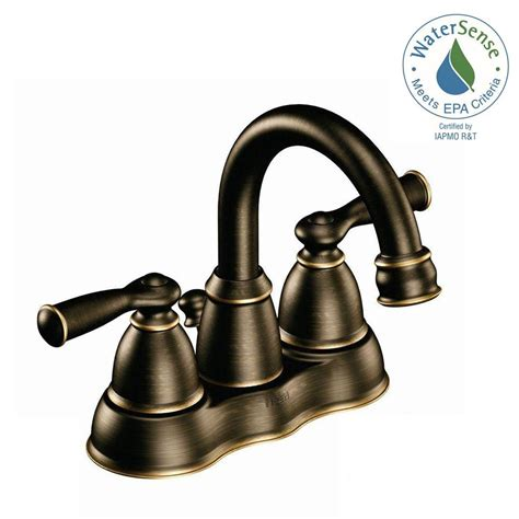 bronze bathroom sink faucet moen banbury 4 in centerset 2 handle high arc bathroom faucet in mediterranean bronze
