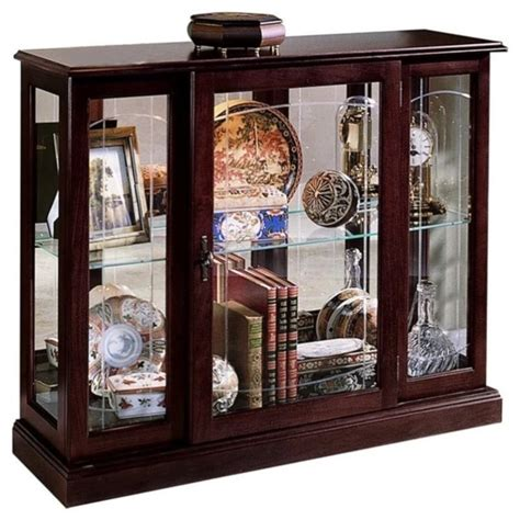 pulaski curios display cabinet in ridgewood cherry 6705
