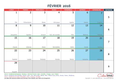 Calendrier Fevrier 2016 Calendrier Mensuel Mois De F 233 Vrier 2016 Avec F 234 Tes
