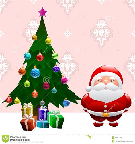 photo of santa claus and christmas tree tree and santa claus stock vector image 16623216