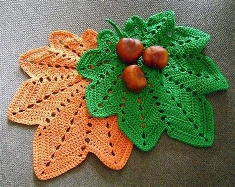pattern for leaf potholder crochet hot pad doily autumn leaf nr 14 potholders