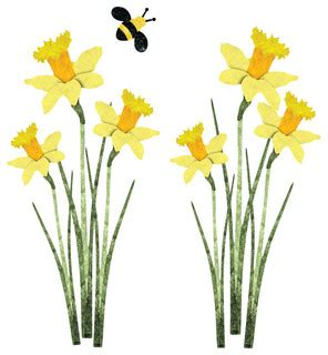 Daffodil and Bee Wall Stickers, Decals, Set of 6 Contemporary Wall Decals by My Wonderful
