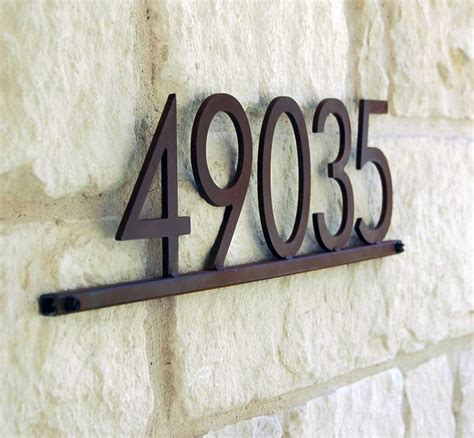 house numbers modern metal address plaque with five 5 in steel house numbers gardenista