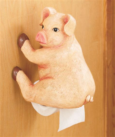 Pig Woodland Booty Toilet Paper Tissue Holder Funny Hunter Pig Bathroom Accessories
