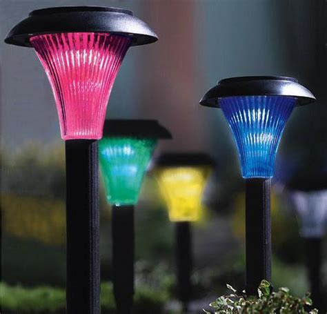 Colored Solar Lights Outdoor Set Of 4 Color Changing Solar Path Lights