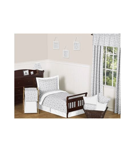 White Toddler Bedding Set Sweet Jojo Designs Gray White 5 Toddler Bedding Set