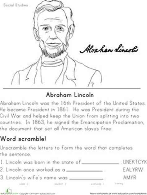 Free History Worksheets by Historical Heroes Abraham Lincoln Learning Presidents