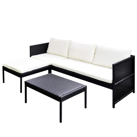 rattan lounge sofa vidaxl black outdoor poly rattan lounge set three seat