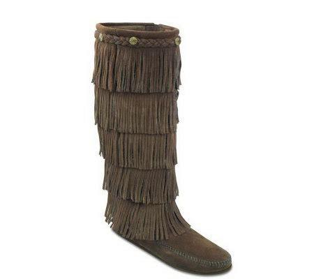 minnetonka s five layer fringe boots qvc