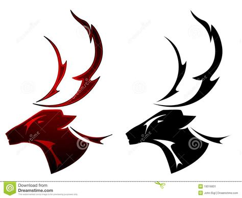 stag tattoo design stock vector illustration of symbol