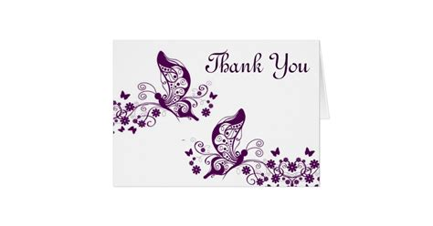 butterfly thank you card template purple butterflies thank you card zazzle