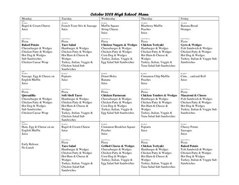 cycle menu template cycle menu template middle school cycle menu food