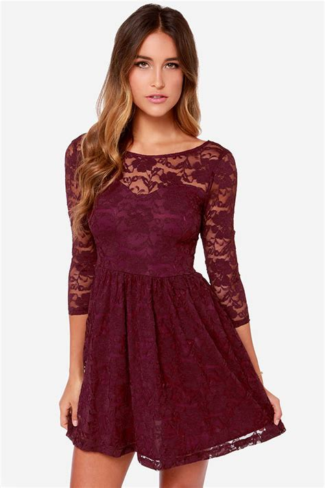 Ghaida Simple Choker Dress Maroon pretty burgundy dress sleeve dress lace dress