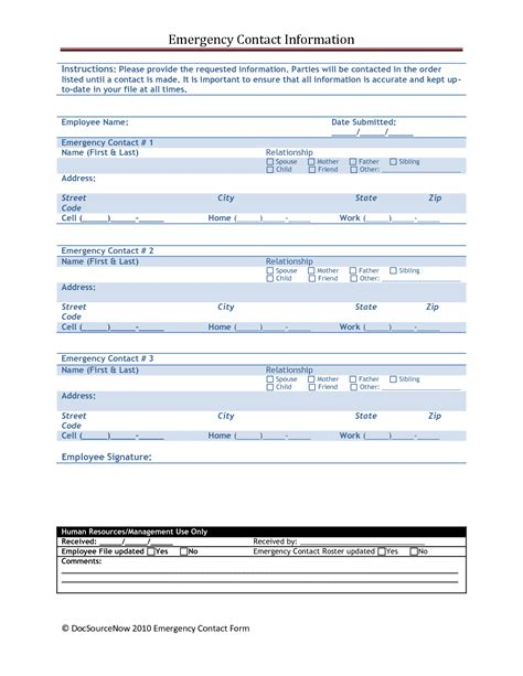 emergency information template emergency contact form template l vusashop