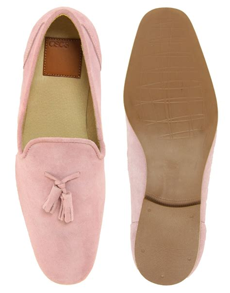pink mens loafers lyst asos tassel loafers in suede in pink for
