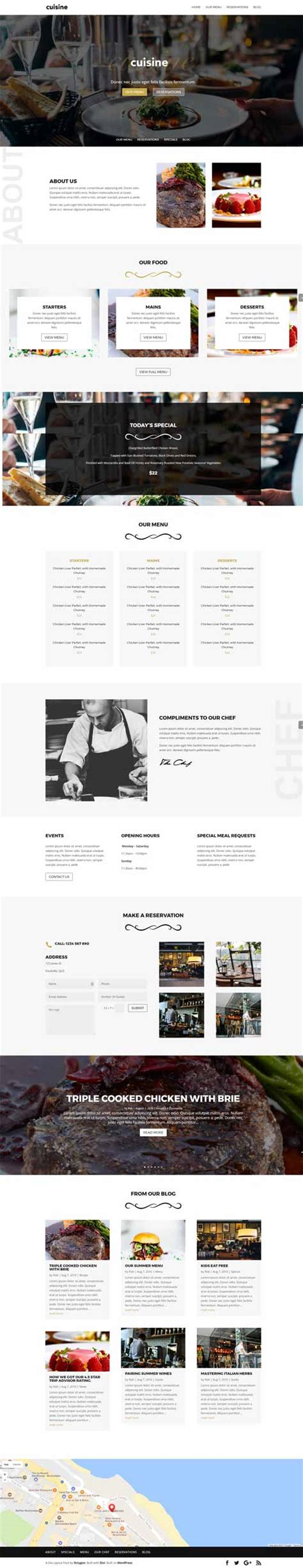 layout of a restaurant review cuisine 1 page restaurant layout divi theme layouts