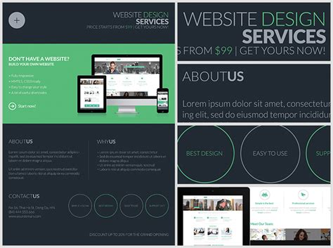 Dark Web Design Services Flyer Template Flyerheroes Web Service Specification Template