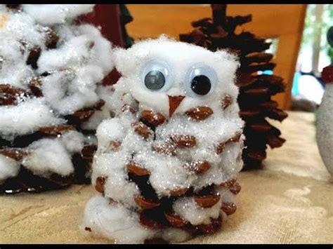 Tippytoe Crafts Pine Cone Snowy Owls - diy how to make snowy owl decoration