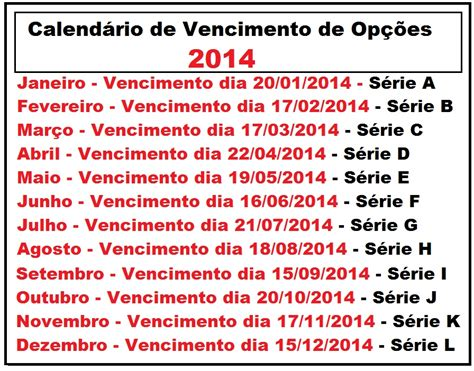 Calendario Bovespa Calend 193 De Vencimento De Op 199 213 Es 2014 Digitei