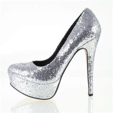 odeon silver glitter high heel platform prom court