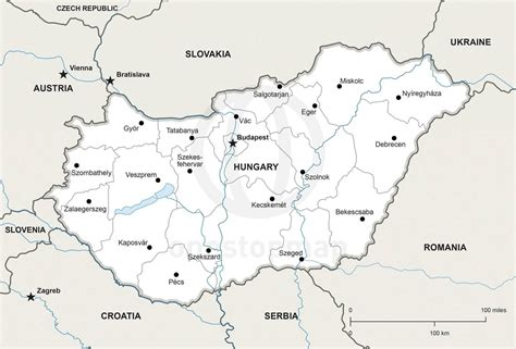 hungary map vector map of hungary political one stop map