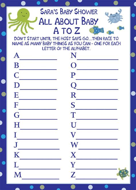 Free Printable Baby Shower A To Z by 24 Baby Shower Quot A To Z Baby Quot Cards The Sea Ebay