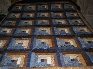 log cabin quilt brown and blue quilt size log cabin