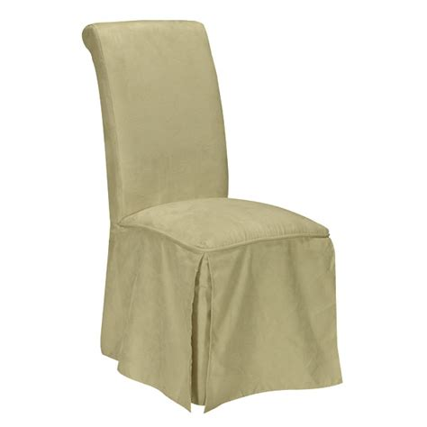 parson beige microfiber dining chair with skirt dcg stores