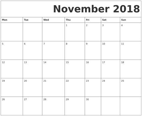 printable calendar november 2018 november 2018 free printable calendar