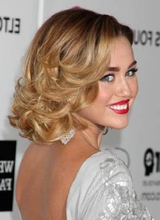 bob hairstyles evening miley cyrus curly bob prom hairstyle hair style
