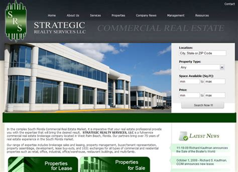 commercial real estate web design commercial properties
