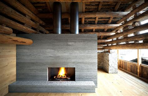 Concrete Fireplace by Remodeled Barn Merges Traditional And Into A