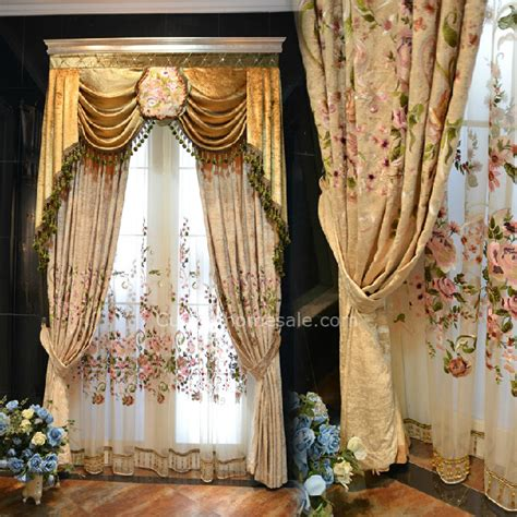 Chenille embroidery luxury curtains design