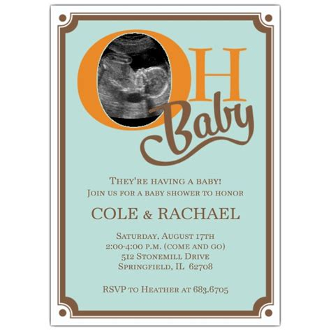 Baby Shower Photo Invitations by Oh Baby Blue Photo Baby Shower Invitations Paperstyle