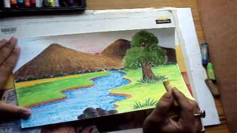 How to draw a landscape with mountains amp river in pastel color youtube