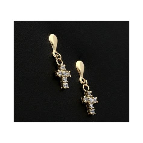 Yellow Gold Cross Earrings 9ct yellow gold cross earrings