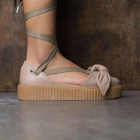 Fenty Bow Black Sandal x fenty by rihanna bow creeper sandal oatmeal