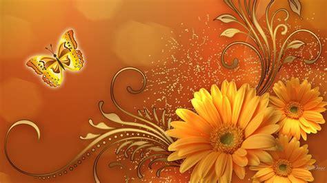 wallpaper flower gold butterfly gold flower design wallpaper