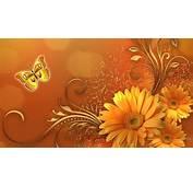 Butterfly Gold Flower Design Wallpaper