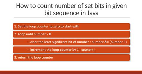 number pattern questions in java how to count number of 1s set bits in given bit sequence