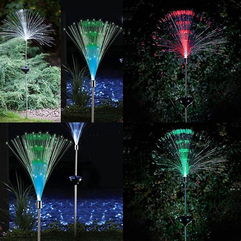 Fiber Optic Landscape Lighting 2 Pcs Solar Powered Led L Color Changing Fiber Optic Garden Landscape Light Ebay