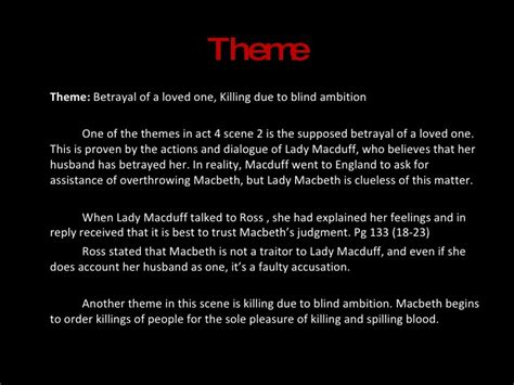 macbeth themes of ambition macbeth act 4 scene 2 b band