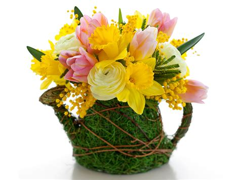 Picture Of Flowers In Vase Image Tulips Mimosa Flowers Narcissus Ranunculus