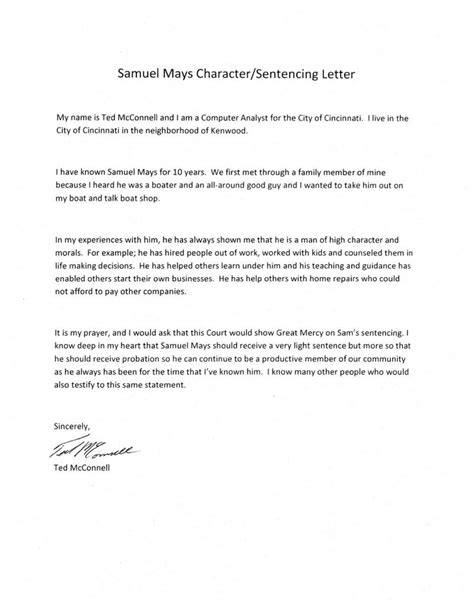 Character Letter Of Support To Judge Sle Character Sentencing Letter Mays Defense Fund