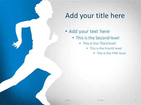 Running Powerpoint Template running powerpoint template blue presentationgo
