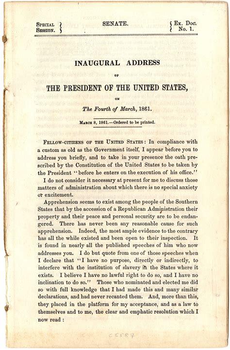 abraham lincoln inaugural address president lincoln s inaugural address 1861 the