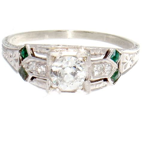 deco emerald engagement ring deco emerald platinum engagement ring at 1stdibs