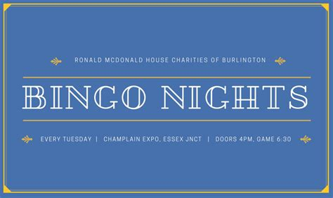 ronald mcdonald house burlington vt bingo night live
