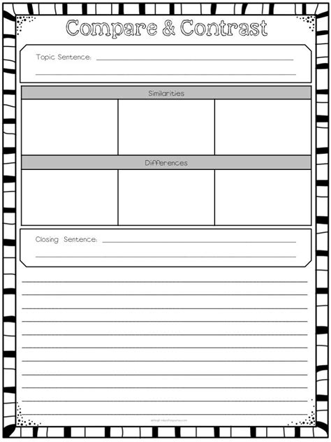 printable graphic organizer for compare and contrast 148 best images about compare contrast on pinterest
